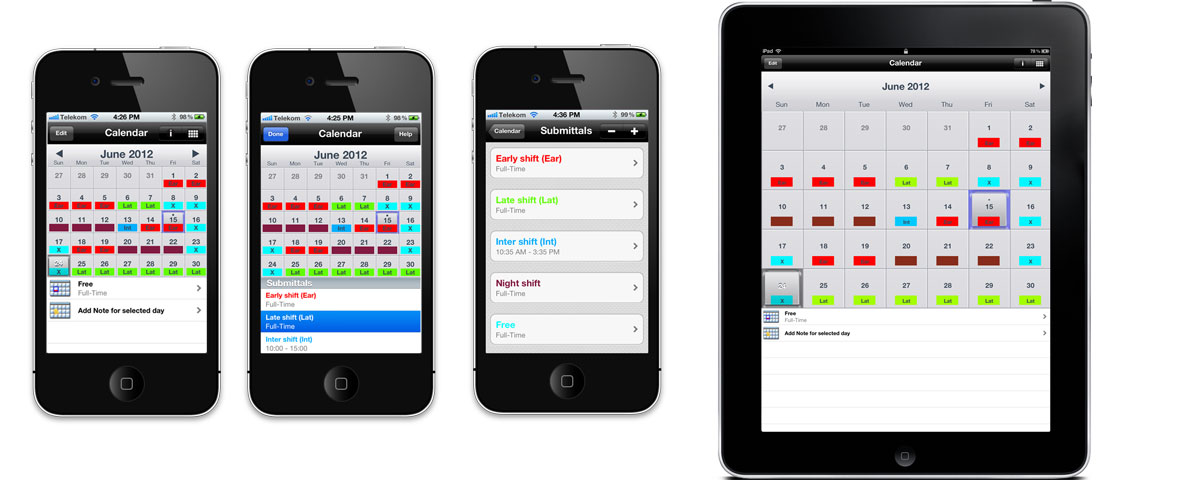 Your Shifts - Your Roster Calendar for iPhone,iPad
